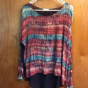 Long sleeve multicolored top with sheer back!